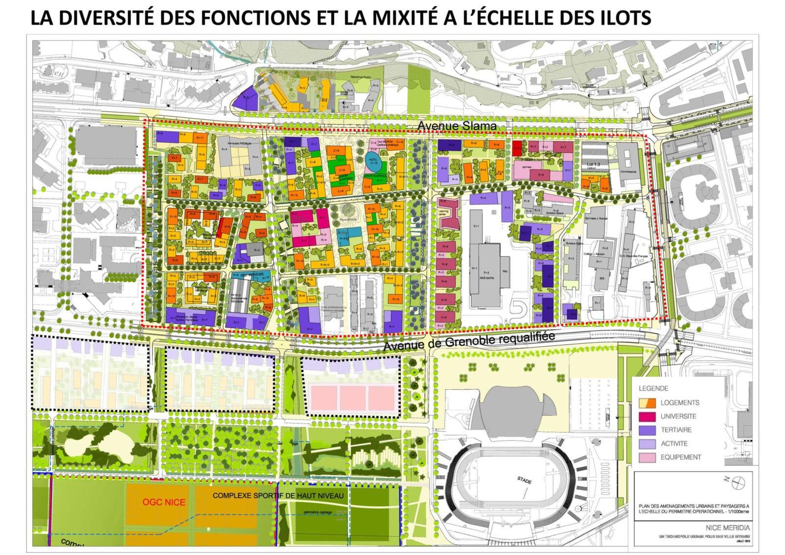 La diversité des fonctions et la mixité à l'échelle des îlots dans le secteur de Nice-Méridia. © Devillers & Associés By-Encore EPA