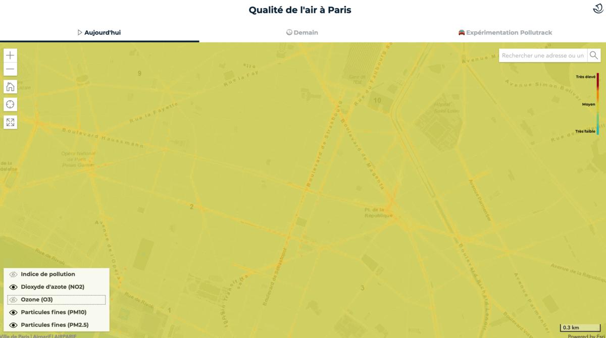 carte polution air paris temps reel